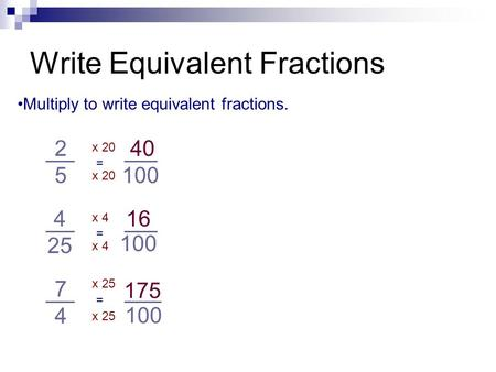 Write Equivalent Fractions