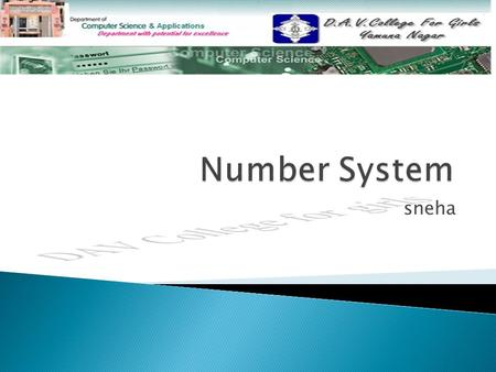 Sneha.  Number System Number System  Types of Number System Types of Number System  Types of positional number system Types of positional number system.