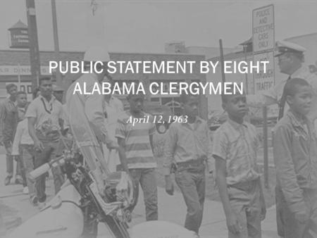 PUBLIC STATEMENT BY EIGHT ALABAMA CLERGYMEN