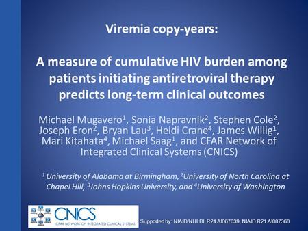 Supported by: NIAID/NHLBI R24 AI067039, NIAID R21 AI087360 Viremia copy-years: A measure of cumulative HIV burden among patients initiating antiretroviral.