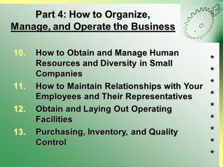 ****************** Part 4: How to Organize, Manage, and Operate the Business 10.How to Obtain and Manage Human Resources and Diversity in Small Companies.