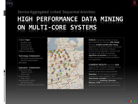 Service Aggregated Linked Sequential Activities: GOALS: Increasing number of cores accompanied by continued data deluge Develop scalable parallel data.
