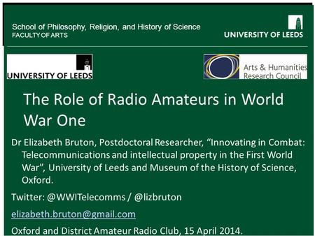 The Role of Radio Amateurs in World War One