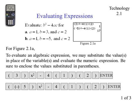 Figure 2.1a Evaluating Expressions To evaluate an algebraic expression, we may substitute the value(s) in place of the variable(s) and evaluate the numeric.