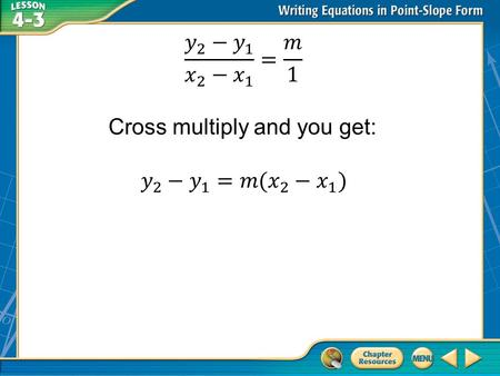 Concept 1 Example 1 Write and Graph an Equation in Point-Slope Form (x 1, y 1 ) = (–2, 0) Point-slope form Answer: Write the point-slope form of an equation.