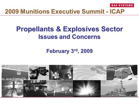 Propellants & Explosives Sector Issues and Concerns February 3 rd, 2009 2009 Munitions Executive Summit - ICAP.