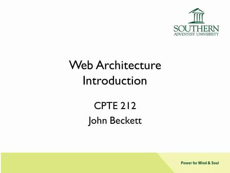 Web Architecture Introduction
