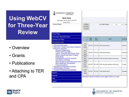 Using WebCV for Three-Year Review Overview Grants Publications Attaching to TER and CPA.