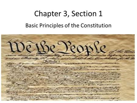 Chapter 3, Section 1 Basic Principles of the Constitution.