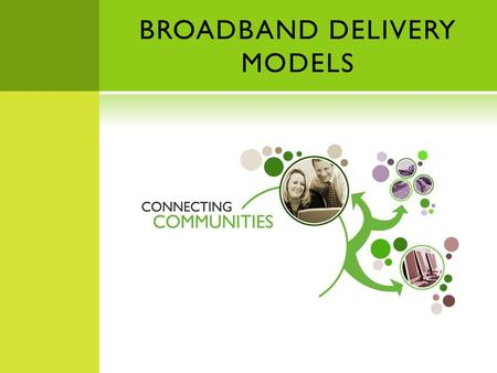 BROADBAND DELIVERY MODELS. THREE MODELS Private Sector Municipal Public/Private Partnership.