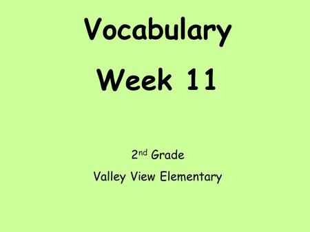 Vocabulary Week 11 2 nd Grade Valley View Elementary.
