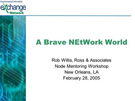 A Brave NEtWork World Rob Willis, Ross & Associates Node Mentoring Workshop New Orleans, LA February 28, 2005.