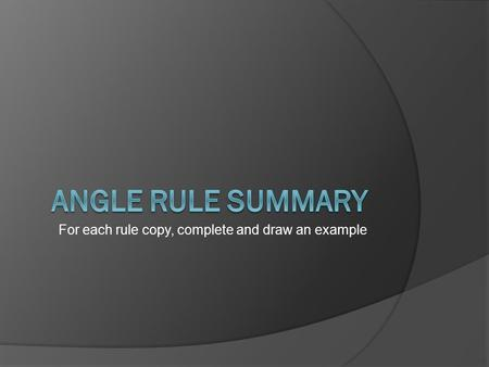 For each rule copy, complete and draw an example.