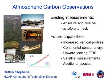 Atmospheric Carbon Observations Britton Stephens NCAR Atmospheric Technology Division Existing measurements: - Absolute and relative - In situ and flask.