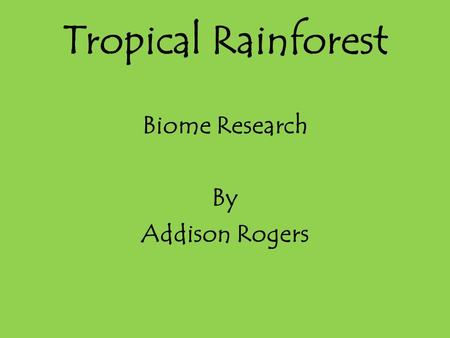 Tropical Rainforest Biome Research By Addison Rogers.