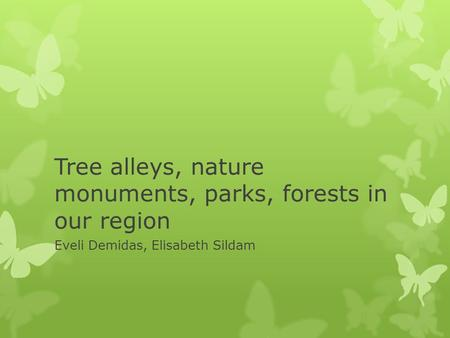 Tree alleys, nature monuments, parks, forests in our region Eveli Demidas, Elisabeth Sildam.