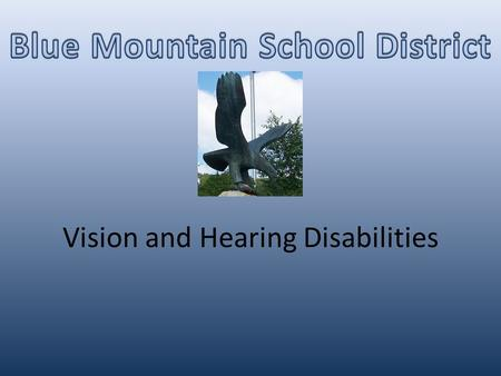 Vision and Hearing Disabilities. I.D.E.A. Definition of Visual Impairments An impairment in vision that, even with correction, adversely affects a child's.
