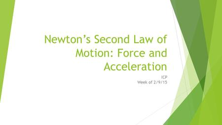 Newton's Second Law of Motion: Force and Acceleration