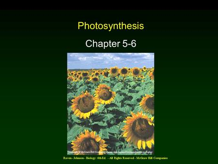 Raven - Johnson - Biology: 6th Ed. - All Rights Reserved - McGraw Hill Companies Photosynthesis Chapter 5-6 Copyright © McGraw-Hill Companies Permission.