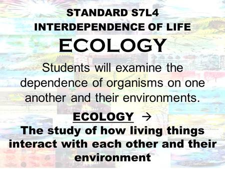 an introduction to the ecology as the study of the living things interacting with its environment