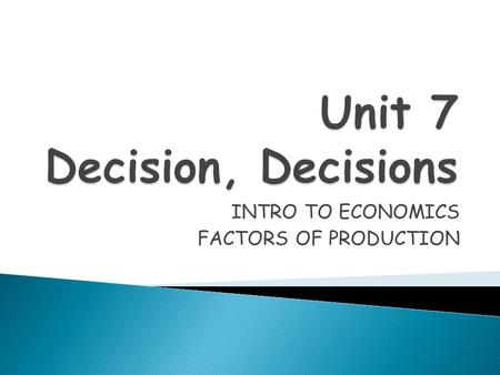 INTRO TO ECONOMICS FACTORS OF PRODUCTION.  Economics is the study of choices & decisions people make about how to use the world's resources.  Meeting.