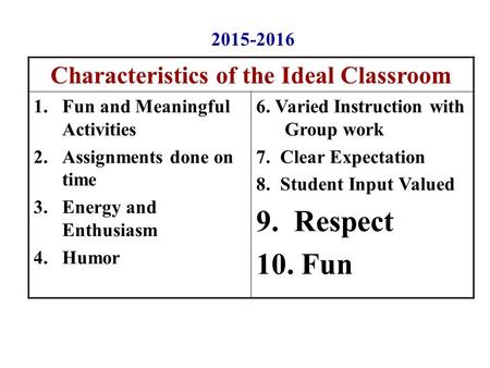 Characteristics of the Ideal Classroom 1.Fun and Meaningful Activities 2.Assignments done on time 3.Energy and Enthusiasm 4.Humor 6. Varied Instruction.