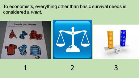 To economists, everything other than basic survival needs is considered a want. 123.
