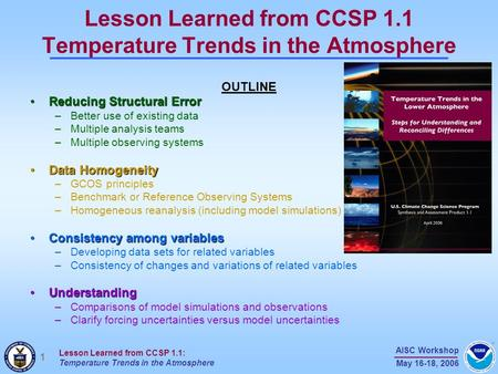 1 AISC Workshop May 16-18, 2006 Lesson Learned from CCSP 1.1: Temperature Trends in the Atmosphere Lesson Learned from CCSP 1.1 Temperature Trends in the.