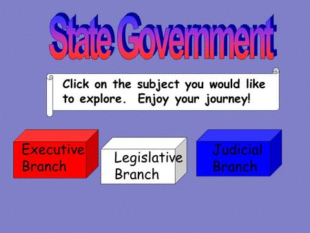 Legislative Branch Judicial Branch Executive Branch Click on the subject you would like to explore. Enjoy your journey!