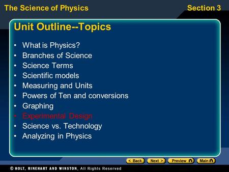 Unit Outline--Topics What is Physics? Branches of Science