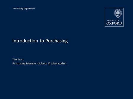 Introduction to Purchasing