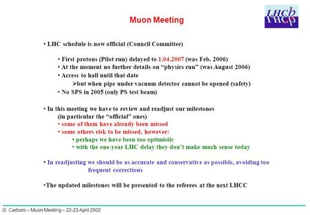 G. Carboni – Muon Meeting – 22-23 April 2002 Muon Meeting LHC schedule is now official (Council Committee) First protons (Pilot run) delayed to 1.04.2007.