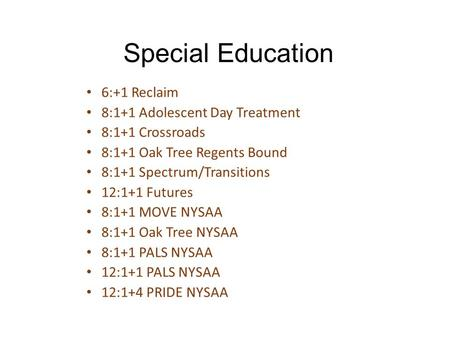 Special Education 6:+1 Reclaim 8:1+1 Adolescent Day Treatment 8:1+1 Crossroads 8:1+1 Oak Tree Regents Bound 8:1+1 Spectrum/Transitions 12:1+1 Futures 8:1+1.