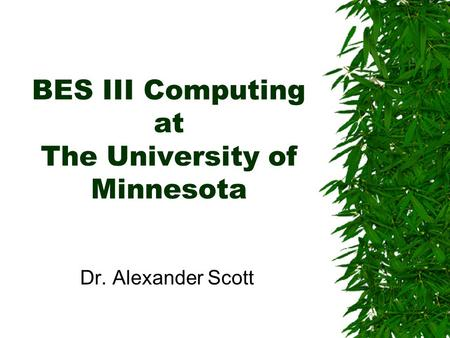 BES III Computing at The University of Minnesota Dr. Alexander Scott.