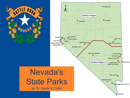 State Park Map Nevada's State Parks by Dr. Keeler's Class.