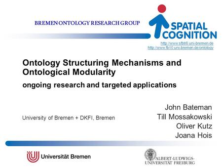 Ontology Structuring Mechanisms and Ontological Modularity ongoing research and targeted applications John Bateman Till Mossakowski Oliver Kutz Joana Hois.