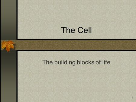 1 The Cell The building blocks of life. 2 The Cell Go to the Cell Size link.