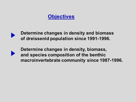 Objectives Determine changes in density and biomass of dreissenid population since 1991-1996. Determine changes in density, biomass, and species composition.