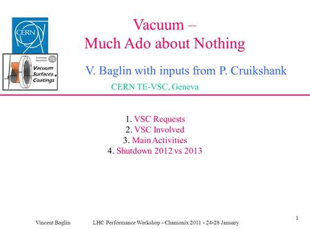1 Vacuum – Much Ado about Nothing V. Baglin with inputs from P. Cruikshank CERN TE-VSC, Geneva Vincent Baglin LHC Performance Workshop - Chamonix 2011.