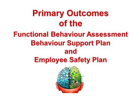 Primary Outcomes of the Functional Behaviour Assessment Behaviour Support Plan and Employee Safety Plan.