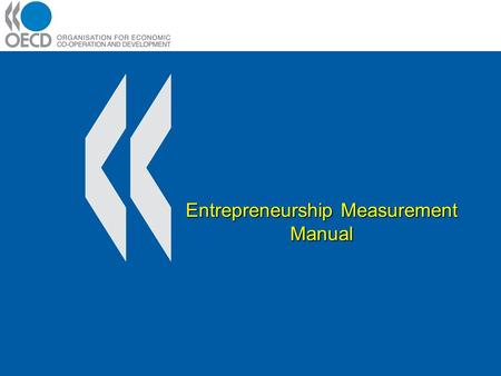 Entrepreneurship Measurement Manual. Introduction / Background A Framework for Understanding Entrepreneurship Sources of data for Entrepreneurship Indicators.