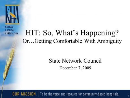 1 HIT: So, What's Happening? Or…Getting Comfortable With Ambiguity State Network Council December 7, 2009.