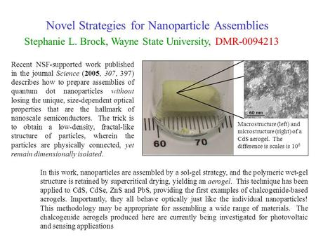 Novel Strategies for Nanoparticle Assemblies Stephanie L. Brock, Wayne State University, DMR-0094213 Recent NSF-supported work published in the journal.