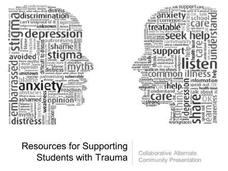 Resources for Supporting Students with Trauma Collaborative Alternate Community Presentation.