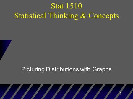 1 Picturing Distributions with Graphs Stat 1510 Statistical Thinking & Concepts.