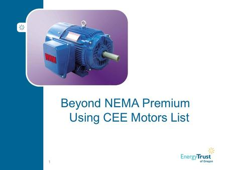 Beyond NEMA Premium Using CEE Motors List 1. Savings Summary Worksheet 2.