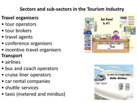 Travel organisers tour operators tour brokers travel agents conference organisers incentive travel organisers Sectors and sub-sectors in the Tourism Industry.