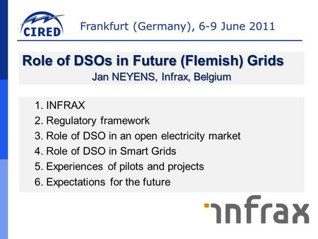 Frankfurt (Germany), 6-9 June 2011 1. INFRAX 2. Regulatory framework 3. Role of DSO in an open electricity market 4. Role of DSO in Smart Grids 5. Experiences.