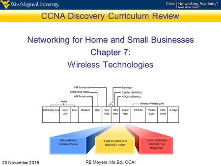 20 November 2015 RE Meyers, Ms.Ed., CCAI CCNA Discovery Curriculum Review Networking for Home and Small Businesses Chapter 7: Wireless Technologies.