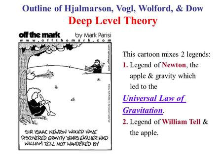 This cartoon mixes 2 legends: 1. Legend of Newton, the apple & gravity which led to the Universal Law of Gravitation. 2. Legend of William Tell & the apple.